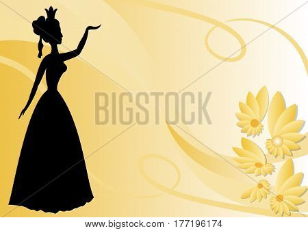 Leaflet background with black victorian lady silhouette on pastel yellow wallpaper with flowers vector EPS 10