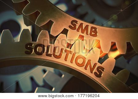 SMB Solutions - Concept. SMB Solutions on Mechanism of Golden Metallic Cogwheels with Glow Effect. 3D Rendering.