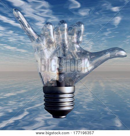 Hang Loose Gesture Light Bulb   3D Render