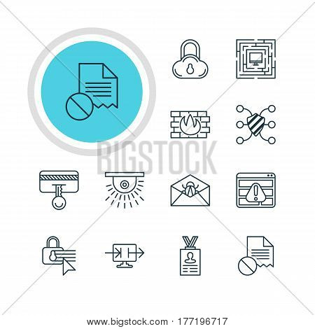 Vector Illustration Of 12 Protection Icons. Editable Pack Of Safeguard, System Security, Safe Storage And Other Elements.