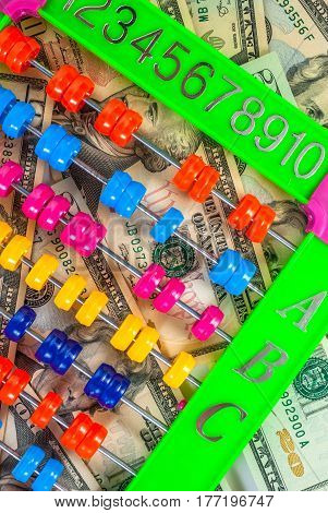 colorful abacus on the background of american dollars, background texture