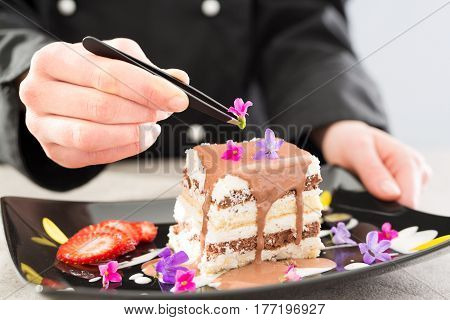 chef chocolate pastry dessert flower plate fine garnish
