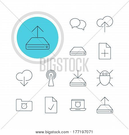 Vector Illustration Of 12 Internet Icons. Editable Pack Of Talking, Information Load, Data Upload And Other Elements.