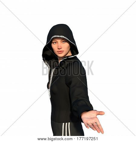 a young bald girl in sporty suit with hood. She's standing half sideways to the camera and holds out her hand. 3D rendering, 3D illustration