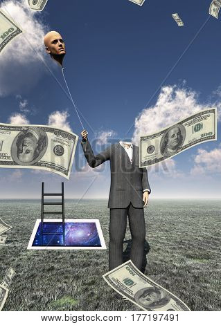 Headless man with cash raining and floating head   3D Render  Some elements provided courtesy of NASA
