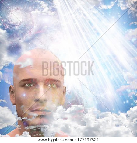 Mans head in clouds   3D Render  Some elements provided courtesy of NASA