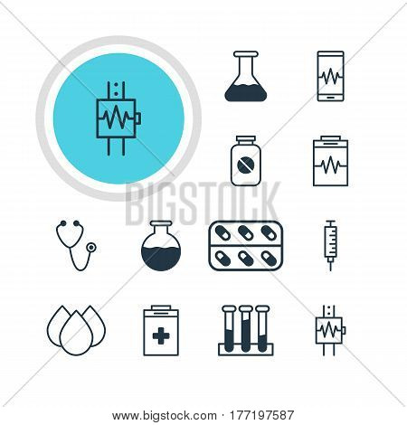 Vector Illustration Of 12 Medical Icons. Editable Pack Of Vial, Aspirin, Treatment And Other Elements.