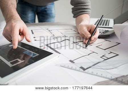 architect architecture drawing project blueprint office business