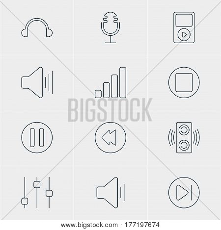 Vector Illustration Of 12 Melody Icons. Editable Pack Of Mike, Reversing, Stabilizer And Other Elements.