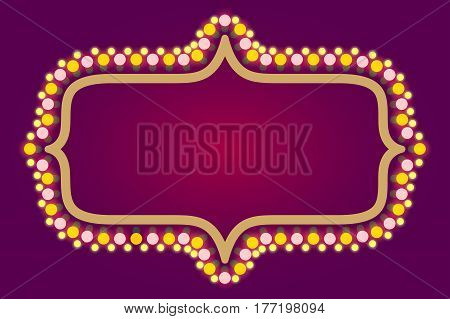 Light bulbs frame , casino, Christmas holidays stock vector