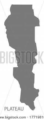 Plateau Benin Department Map Grey Illustration Silhouette