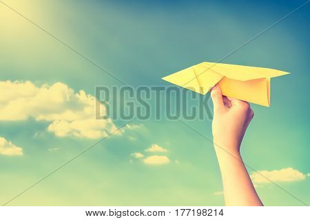 paper travel sky plane child flying yellow fun human leisure kid