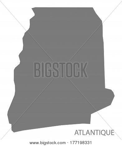 Atlantique Benin Department Map Grey Illustration Silhouette
