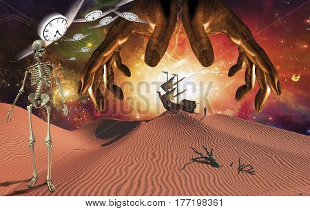 God's hands over surreal red desert. Skeleton and winged clocks. Ancient ship on sand dune and figure of man in a distance.  Some elements provided courtesy of NASA  3D Render