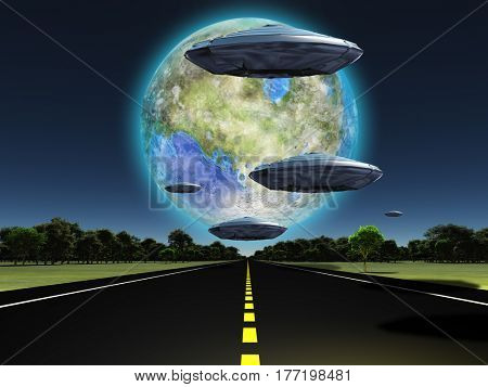 Terraformed moon seen from earth. Flying saucers over the highway.  Some elements provided courtesy of NASA  3D Render