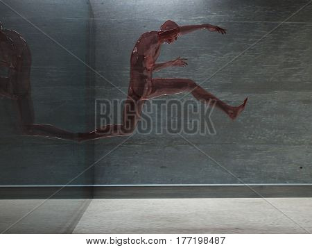 3d render. Figure of man made of glass in motion.   3d render.