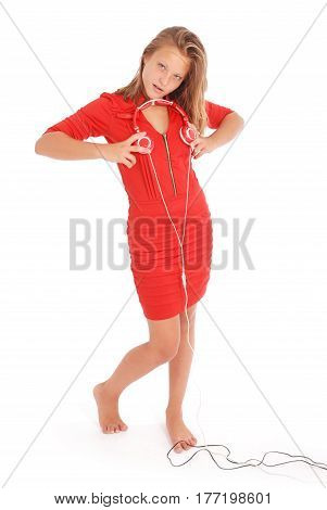 Girl with headphones. Isolated on white background
