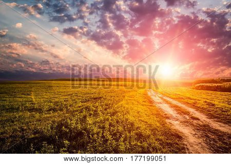 sky sunset landscape field cloud dawn road sun