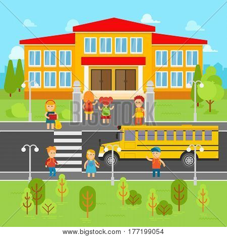 Children go back to school vector flat illustration. School bus, kids infographic elements. Girls and boys with backpacks going to learn. The knowledge Day. School concept stock vector design