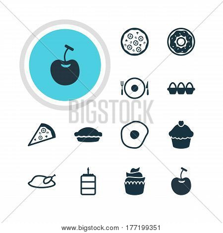 Vector Illustration Of 12 Cuisine Icons. Editable Pack Of Serving, Grill, Flan And Other Elements.