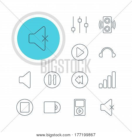 Vector Illustration Of 12 Music Icons. Editable Pack Of Lag, Speaker, Start And Other Elements.