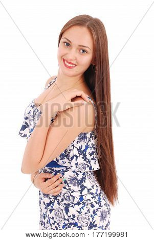 Portrait of young woman in dress. White background.