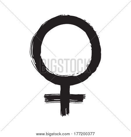 Black ink mirror of venus symbol vector hand drawn illustration. Female sign.