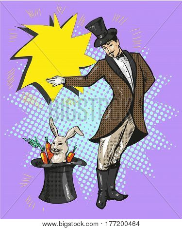 Vintage magician with rabbit in hale illustrationt pop art comic sty