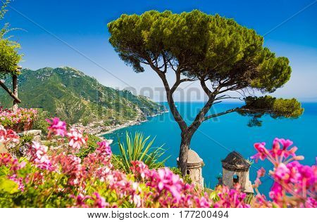 Scenic Picture-postcard View Of Famous Amalfi Coast With Gulf Of Salerno From Villa Rufolo Gardens I