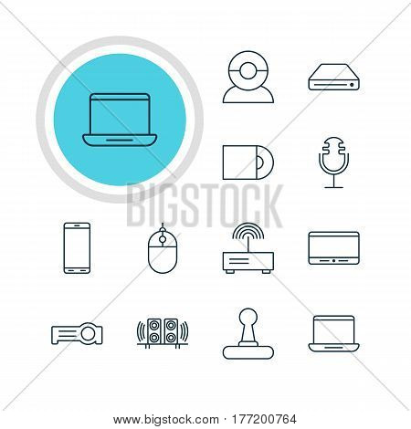 Vector Illustration Of 12 Accessory Icons. Editable Pack Of Game Controller, Modem, Dvd Drive And Other Elements.