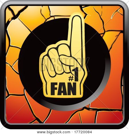 fan hand orange cracked web button
