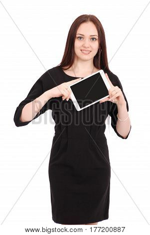 Happy student teenage girl keeps tablet pc isolated on white