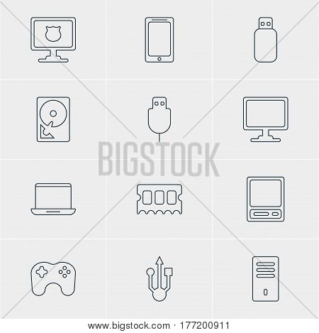 Vector Illustration Of 12 Computer Icons. Editable Pack Of Usb Icon, Hard Drive Disk, Antivirus And Other Elements.
