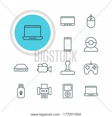 Vector Illustration Of 12 Accessory Icons. Editable Pack Of Memory Storage, Media Controller, Game Controller And Other Elements.