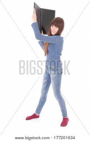 Portrait of student teenage girl with laptop isolated on white