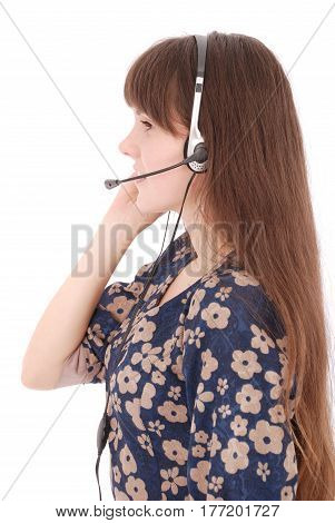 Beautiful customer service operator student girl with headset and laptop isolated on white background.