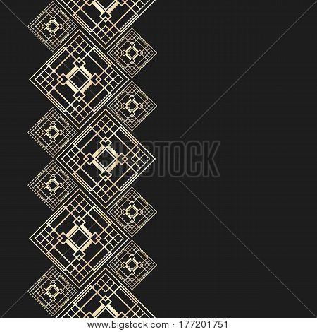 Golden frame in luxury style. Seamless border for design. Black and gold background. Art Deco tiles.