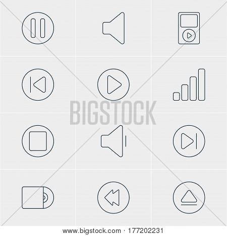 Vector Illustration Of 12 Melody Icons. Editable Pack Of Pause, Decrease Sound, Start And Other Elements.