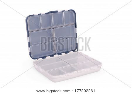Opened white plastic box for fishing tackle on an isolated white background. Clipping path