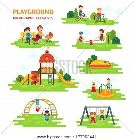 Playground infographic elements vector flat illustration, children play on the outdoors, in the sandbox, boys and girls go for a drive on a swing. Mom walking with children