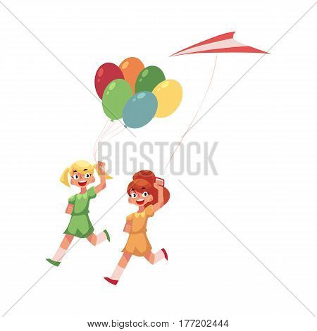 Two pretty teenage girl friends running together with colorful balloons and kite, cartoon vector illustration isolated on white background. Girls running together, friends with kite, and balloons
