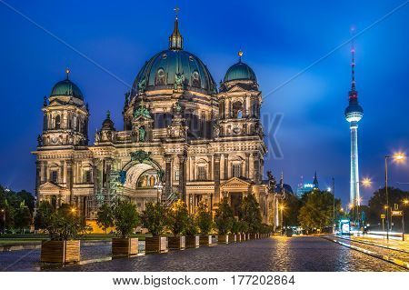Berlin Cathedral With Tv Tower At Night, Germany