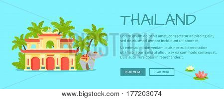 Thailand touristic web banner. Ancient thai temple and elephant in ornamented cape in jungles flat vector illustration. Leisure in tropical country horizontal concept for travel company landing page