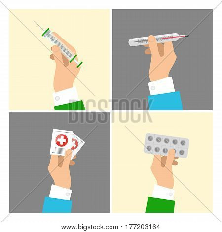 Hands holding medical equipments and pills set with grey and beige backgrounds. Vector poster of hands taking syringe, transparent thermometer, things with white cross on red circles and round pills