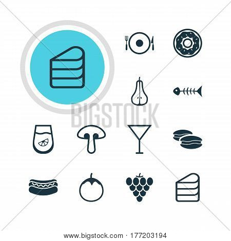 Vector Illustration Of 12 Meal Icons. Editable Pack Of Fungus, Streetfood, Juice And Other Elements.
