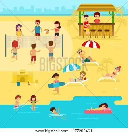 People are resting on the beach, summer vacation by the sea vector flat illustration. Beach infographic elements