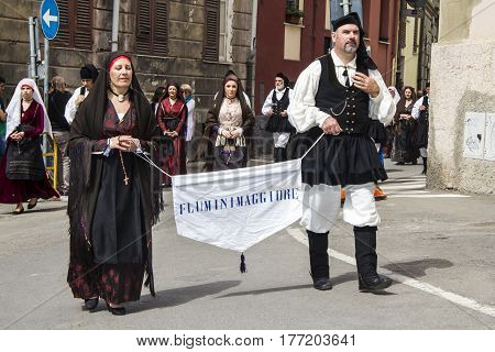 CAGLIARI, ITALY - May 1, 2013: 357 Religious Procession of Sant'Efisio - parade of the folk group of Fluminimaggiore - Sardinia
