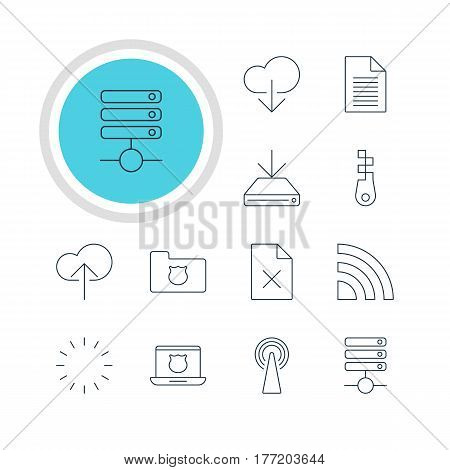 Vector Illustration Of 12 Network Icons. Editable Pack Of Data Upload, Wireless Network, Secure Laptop And Other Elements.