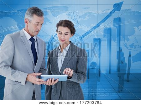 Digital composite of Business people standing while looking at tablet against blue graph background