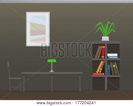 Library interior with bookshelves. Room with bookcase filled with colorful textbooks, chair, table with lamp, and picture on wall flat vector. College library illustration for educational concept